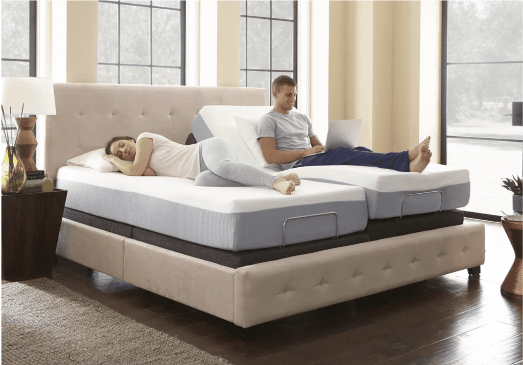 solace sleep adjustable bed couple in bed