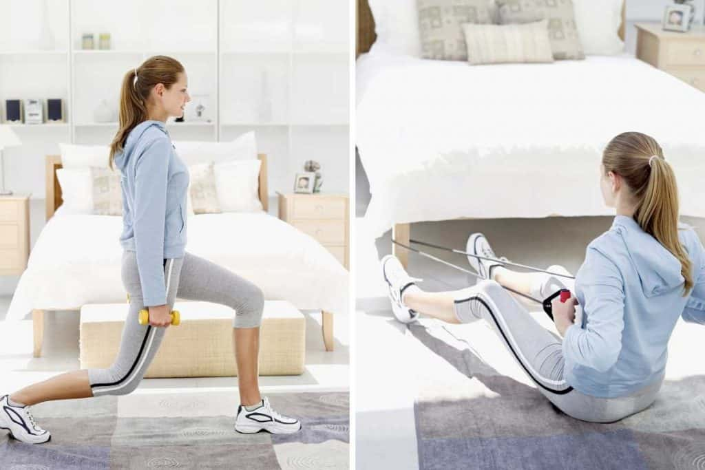 Woman exercising in the bedroom