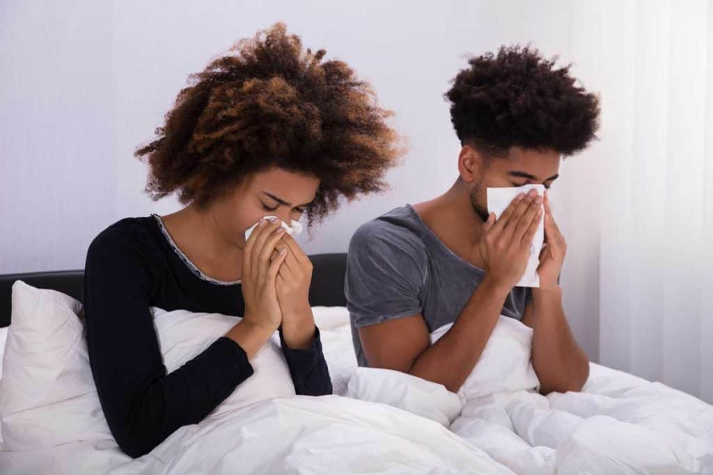 couple in bed sneezing