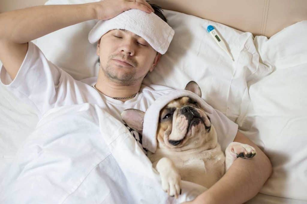 man sick in bed with dog