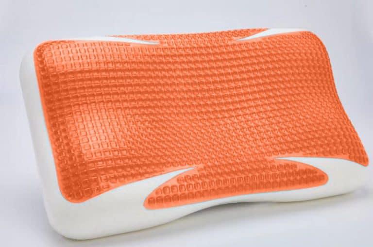 copper contour pillow angle view